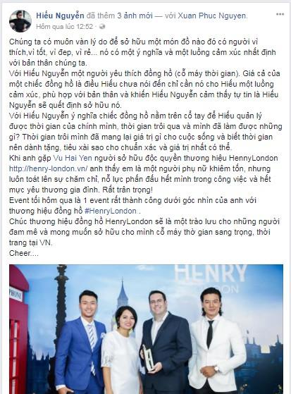 Mai Thu Huyền cùng dàn sao Việt gửi lời chúc mừng đến sự kiện Henry London ra mắt tại Việt Nam trên Facebook